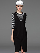 Boutique S Women's Going out Vintage Spring Set Skirt,Striped Round Neck ¾ Sleeve Black Cotton / Polyester Opaque