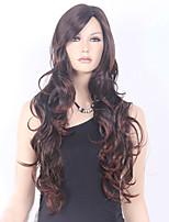 alta calidad negro color de la mezcla de color marrón peluca sintética de pelo largo y rizado ppopular de Europa y América