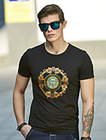 WILSHEMON® Men's Round Neck Short Sleeve T Shirt Black / White / Pink-18029