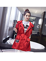 Women's Going out Simple Trench Coat,Solid Peter Pan Collar ¾ Sleeve Spring / Fall Red Polyester Medium