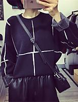 Damen Standard Pullover-Lässig/Alltäglich Einfach Gestreift Schwarz Rundhalsausschnitt Langarm Baumwolle Frühling / Herbst Mittel