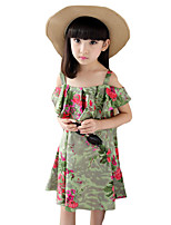 Girl's Casual/Daily Print Dress,Cotton Summer Green