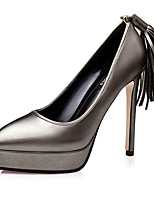 Women's Heels Summer Heels PU Casual Stiletto Heel Tassel Black / Red / Silver / Gray Others