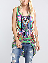 Women's Going out Simple Summer T-shirt,Print U Neck Sleeveless Green Polyester Thin Print Randomly