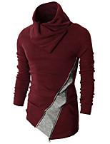 Herren Standard Pullover-Lässig/Alltäglich Einfach Einfarbig Rot Schwarz Rollkragen Langarm Kaninchen-Pelz Frühling Herbst Mittel