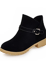 Women's Shoes Winter Motorcycle Boots / Round Toe Boots Dress / Casual Low Heel Buckle Black / Yellow / Green
