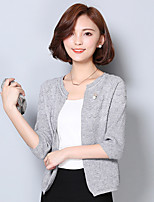 Women's Casual/Daily Simple Short Cardigan,Solid Round Neck ¾ Sleeve Cotton Spring Medium