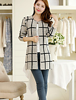 Women's Casual/Daily Simple Long Cardigan,Plaid Round Neck Long Sleeve Wool Fall / Winter Medium