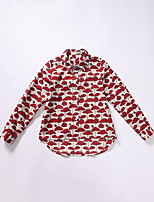 Girl's Casual/Daily Print Blouse,Cotton Spring / Fall Red