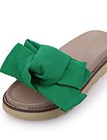Mujer-Tacón Plano-Zapatillas-Tacones-Casual-PU-Negro / Rojo