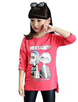 Girl's Casual/Daily Print Tee / Blouse,Cotton / Others Spring / Fall Black / Red / White / Yellow
