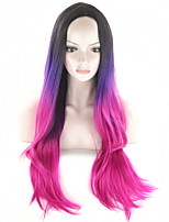 Long Wavy Ombre Wig Full HEAD Gradient Wig with No Bang 3 Tone Dip Dye Hair Synthetic Wigs for Women