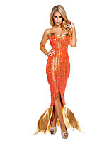 Costumes Mermaid Tail Halloween / Noël / Carnaval Doré / Orange Vintage Térylène Robe
