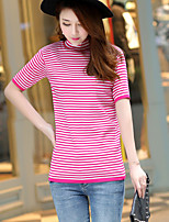 Women's Casual/Daily Simple Regular Cardigan,Striped Crew Neck Short Sleeve Cotton Summer Medium
