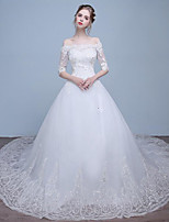 A-line Wedding Dress Chapel Train Bateau Lace / Tulle with Beading / Lace