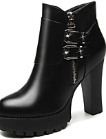 Women's Boots Spring / Fall / Winter Heels Synthetic Office & Career / Casual Chunky Heel Black / Red Snow Boots