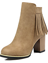 Women's Shoes Fashion Boots / Round Toe Boots Office & Career / Dress / Casual Chunky Heel Zipper / Tassel