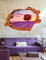 3D Romance Lavender Sunset Glow Landscape 3D Wall Stickers Fashion Removable Living Room Wall Decals