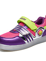 Girl's Sneakers Spring / Fall Comfort / Round Toe Fabric Outdoor Flat Heel Magic Tape / LED Purple Sneaker