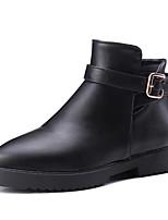 Черный-Женский-Для офиса / Для праздника / На каждый день-Лакированная кожа / Дерматин-На плоской подошве-Удобная обувь / Военные ботинки