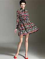 BURDULLY Women's Stand Long Sleeve Above Knee Dress-1633