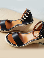 Women's Sandals Summer Wedges / Open Toe Microfibre Casual Wedge Heel Others Black / Gold Others
