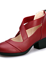 Women's Dance Shoes Sneakers Breathable Leather Cuban Heel Black/Red/White