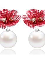 Boucle Forme de Fleur Bijoux 1 paire Mode Mariage / Soirée / Quotidien / Décontracté Imitation de perle / Dentelle FemmeNoir / Rouge /
