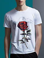 Men's Floral Casual T-ShirtPolyester Short Sleeve-Black / White