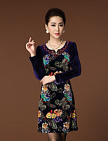 Women's Casual/Daily Simple Sheath Dress,Floral Round Neck Above Knee
