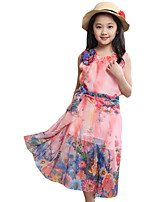 Girl's Holiday Print Dress,Cotton Summer Green / Orange / Purple