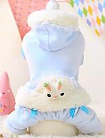 Chien Pulls à capuche Blanc / Bleu Hiver Dessin-Animé Garder au chaud