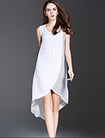 ES·DANNUO Women's Sophisticated Striped A Line Dress,Round Neck Asymmetrical Cotton / Linen