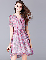 Women's Plus Size / Casual/Daily Simple Chiffon Dress,Print V Neck Above Knee Short Sleeve Purple Polyester Summer