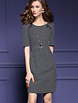 Women's Plus Size / Going out Street chic Bodycon Dress,Polka Dot Round Neck Above Knee ½ Length Sleeve Black