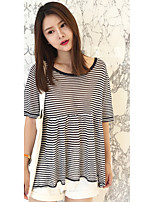 Women's Going out /Cute Regular Pullover,Striped Blue / Black Round Neck Short Sleeve Others Spring / Summer Medium