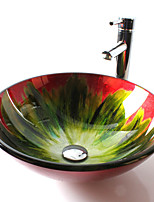 Round Contemporary Bathroom Tempered Glass Sink Set