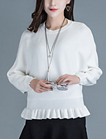 Women's Casual/Daily Street chic Short Pullover,Solid White / Gray Round Neck Long Sleeve Rabbit Fur Fall Medium