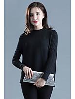 Damen Standard Pullover-Ausgehen Einfach Solide Mehrfarbig Rundhalsausschnitt Langarm Acryl Herbst Mittel