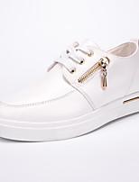 Da donna-Sneakers-Tempo libero / Casual / Sportivo-Comoda-Piatto-Di pelle-Nero / Bianco