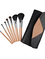 7 Pcs Wood Handle Artificial Hair Makeup Brushes Sets With Bag Random Color