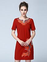Damen Etuikleid Kleid-Lässig/Alltäglich Retro Stickerei V-Ausschnitt Übers Knie Kurzarm Rot Polyester Herbst