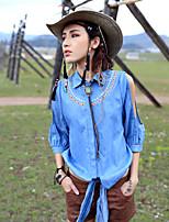 Aporia.As® Femme Col de Chemise Manche Longues Shirt et Chemisier Bleu cair-MZ08034