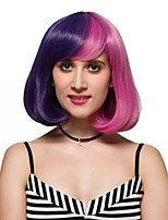 Blue and pink short hair, fashion wigs.