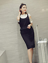 Boutique S Women's Casual/Daily Street chic Summer Set Skirt,Solid Crew Neck Short Sleeve Black Cotton / Polyester Thin