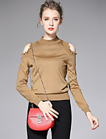 AFOLD® Women's Stand Long Sleeve T Shirt Black / White / Brown-6055
