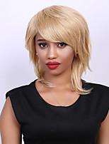 Medium Mixed Color Fluffy Tail Upwards Side Bang Fashion Human Hair Wig For Women