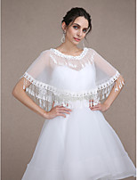 Women's Wrap Capelets Sleeveless Lace / Tulle Ivory Wedding / Party/Evening Scoop Appliques / Beading / Clasp / Pullover
