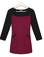 Women's Plus Size Sophisticated Sheath Dress,Patchwork Round Neck Above Knee Long Sleeve Red / Gray Cotton Spring / Fall