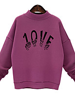 Women's Casual/Daily Vintage Regular Hoodies,Letter Black / Purple Round Neck Long Sleeve Polyester Fall Medium